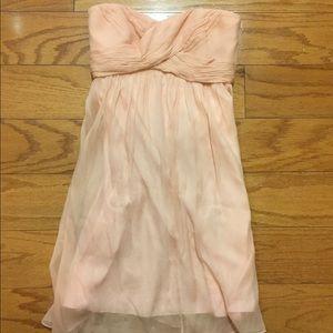 Light pink J Crew chiffon strapless dress